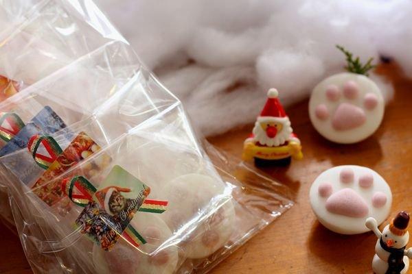 画像1: 肉球マシュマロクリスマスギフト2個入り袋(5袋セット) (1)